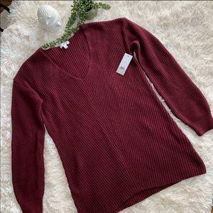 NWT Burgundy V Neck Long Sleeve Sweater - Size S